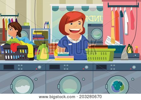 A vector illustration of Woman Doing Laundry at Laundry Place