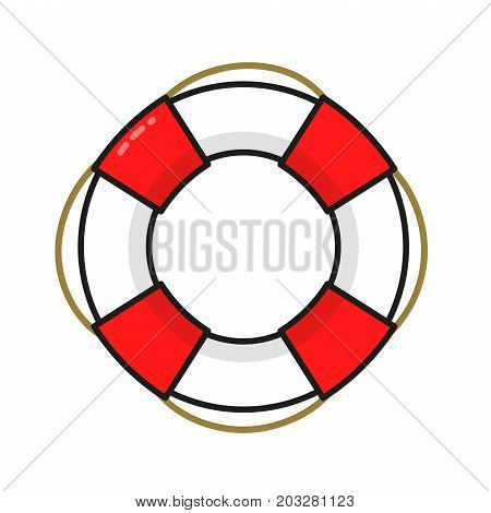 Vintage Lifebuoy. Vector modern line outline flat style cartoon illustration icon. Isolated on white background. Save, Lifebuoy, life ring help concept