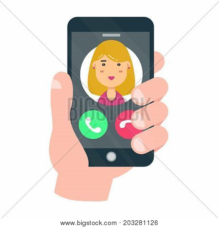 Incoming call on smartphone screen. One hand holds smartphone.Vector modern style cartoon character illustration icon avatar design.Woman avatar.Calling technical support. Isolated on white background