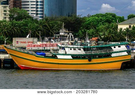Labuan,Malaysia-Aug 30,2017:View of traditional vessel Philippines known as Kumpit in Labuan free duty port,Malaysia.This vessels engaged with Barter Trade between Philippines & Sabah,Malaysia
