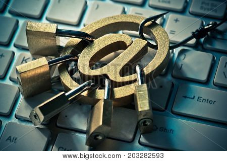 Phishing attack on email / Security and online threat concept