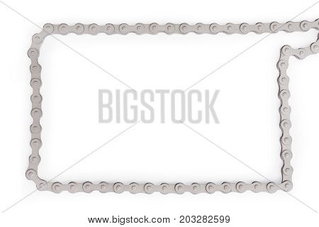 Silver bike chain as frame. Template and background with copy space. Isolated with clipping path