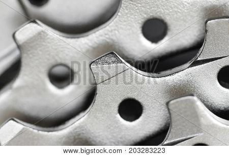Closeup of a mountain bikie cassette teeth