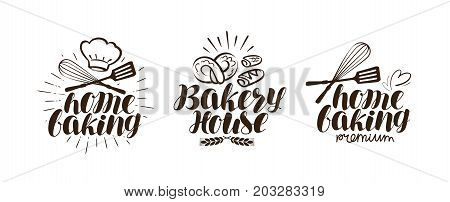 Bakery, bakehouse logo or label. Home baking lettering isolated on white background