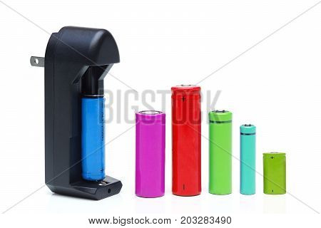 Battery charger with rechargeable batteries in different sizes