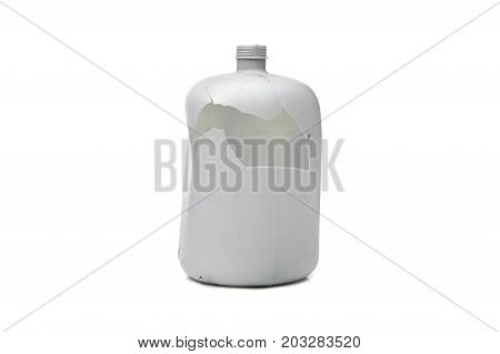 Old broken water gallon isolated on white background