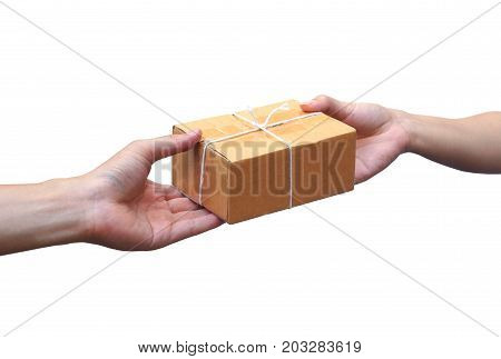 Hand sending a cardboard box to a customer / Parcle delivery
