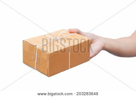 Hand sending a cardboard box / Parcle delivery