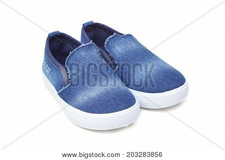 Denim jean slip on shoes isolated on white background