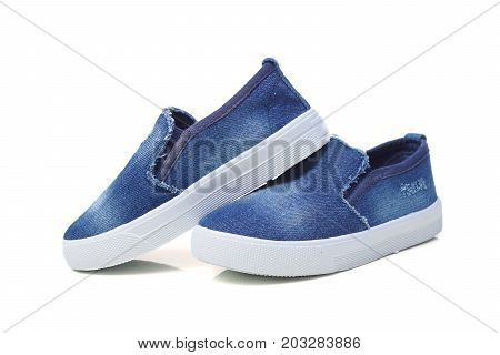 Denim jean slip on shoes isolated on white