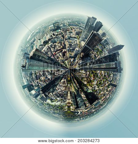 Little planet 360 degree sphere. Panoramic view of Frankfurt am Main city Germany