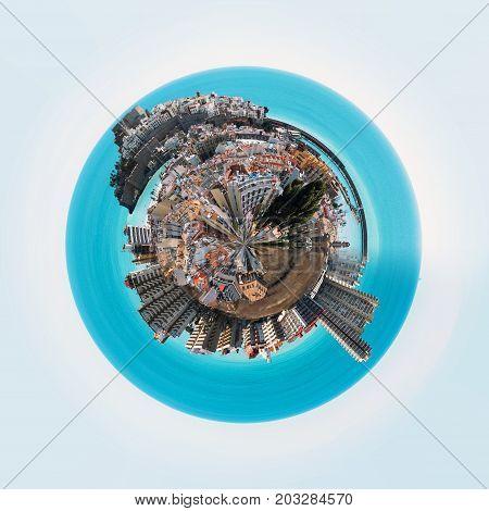 Little planet 360 degree sphere. Panorama of Peniscola town. Costa del Azahar Province of Castellon Valencian Community Spain