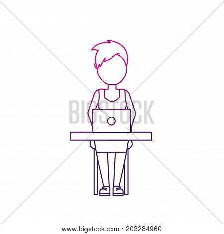line profesional businesswoman with laptop and corporate job vector illustration