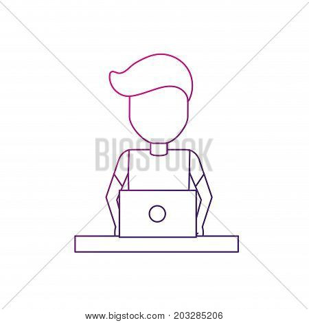 line profesional businessman with laptop and corporate job vector illustration