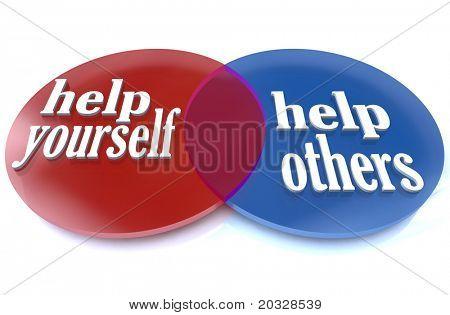 ein Venn-Diagramm zeigt zwei sich überschneidenden Kreise, demonstriert die Vorteile, denen Sie und andere ex-können
