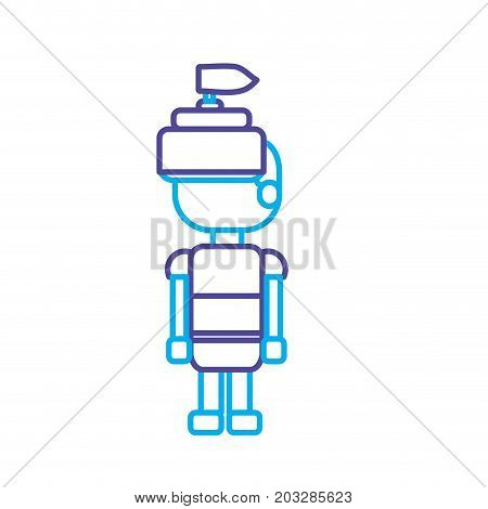 line warrior character to video game technology play vector illustration