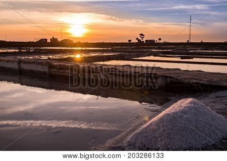 Aveiro Portugal - September 02 2017: Extraction of sea salt in Aveiro Portugal.