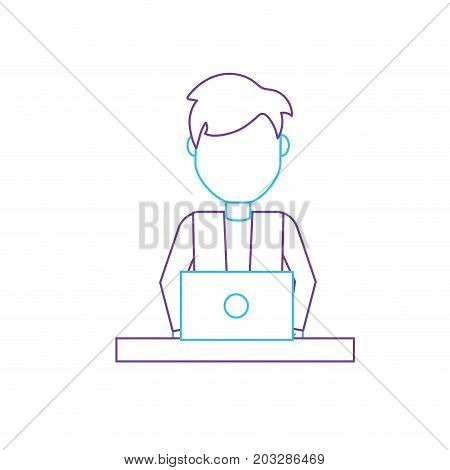 silhouettte profesional businessman with laptop and corporate job vector illustration