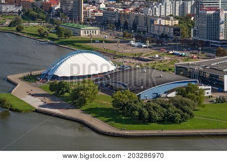 MINSK, BELARUS - AUGUST 15, 2016: Aerial view of the sports complex and the ice skating rink near the Minsk Sports Palace. Minsk is the capital and largest city of Belarus.