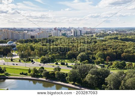 MINSK, BELARUS - AUGUST 15, 2016: Aerial view of the western part of the Minsk with new multi-storey high buildings. Minsk is the capital and largest city of Belarus.