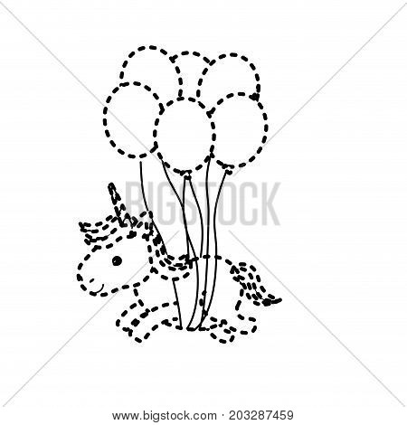 dotted shape beauty unicorn with balloons decoration design vector illustration