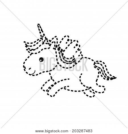 dotted shape cute unicorn with horn and wings design vecto illustration