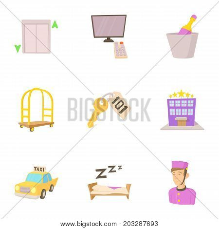 Hostel service icons set. Cartoon set of 9 hostel service vector icons for web isolated on white background