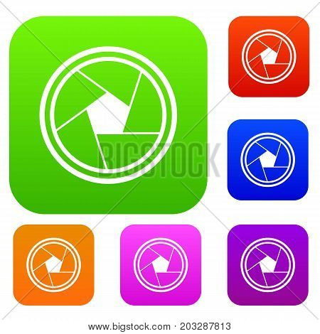 Photo objective set icon in different colors isolated vector illustration. Premium collection