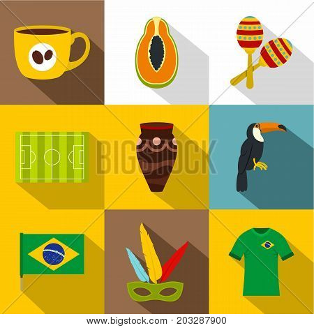 Brazil country icon set. Flat style set of 9 Brazil country vector icons for web design