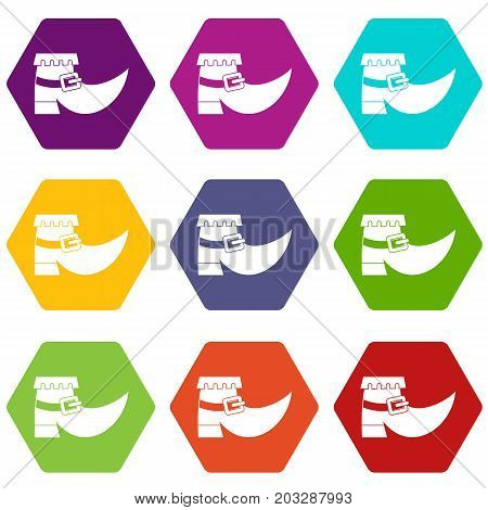 Boot with buckle icon set many color hexahedron isolated on white vector illustration