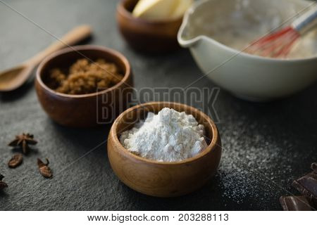 Close up of flour and grounded food on table