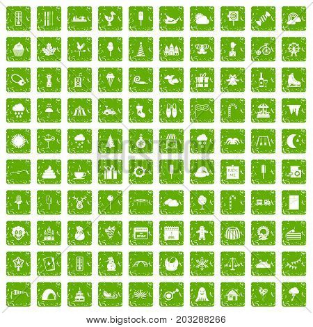 100 childrens parties icons set in grunge style green color isolated on white background vector illustration