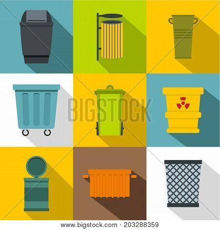 Garbage storage icon set. Flat style set of 9 garbage storage vector icons for web design