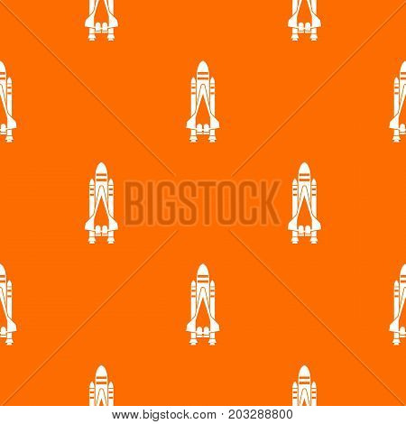 Space shuttle pattern repeat seamless in orange color for any design. Vector geometric illustration