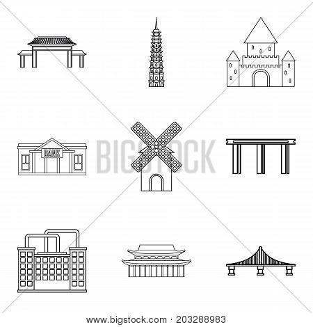 Elevation icons set. Outline set of 9 elevation vector icons for web isolated on white background