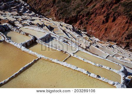 Maras salt ponds located at the Urubamba, Peru