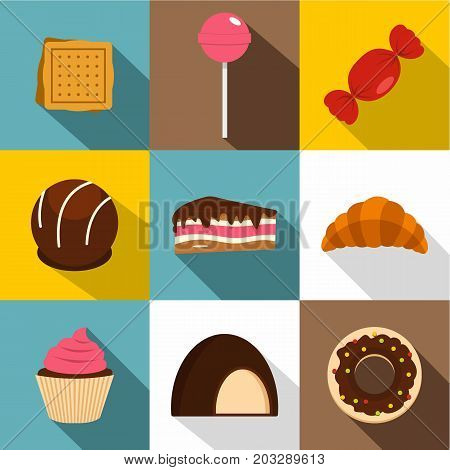 Different sweets icon set. Flat style set of 9 different sweets vector icons for web design