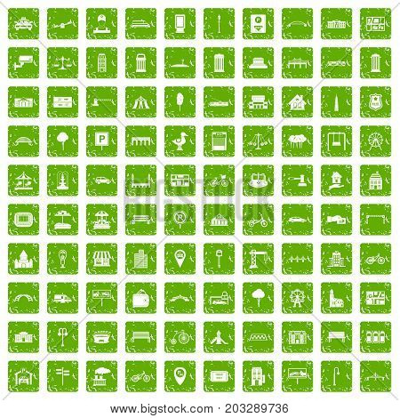100 city icons set in grunge style green color isolated on white background vector illustration