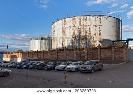 SAMARA, RUSSIA - OCTOBER 12, 2016: View of the tanks for water in Samara state district power station Russia. The power plant was put into operation in 1900.