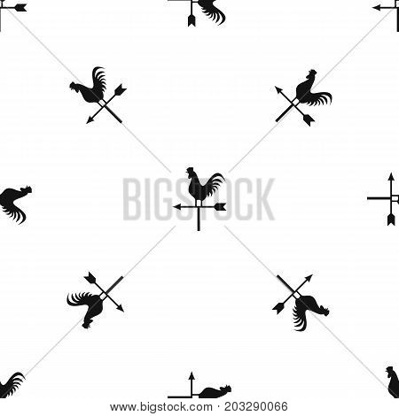 Weather vane with cock pattern repeat seamless in black color for any design. Vector geometric illustration