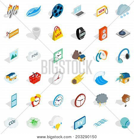 Wrist watch icons set. Isometric style of 36 wrist watch vector icons for web isolated on white background