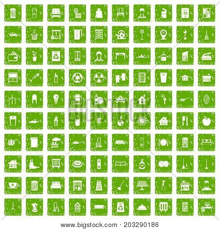 100 cleaning icons set in grunge style green color isolated on white background vector illustration