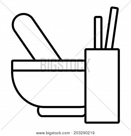 Mortar with pestle icon. Outline illustration of mortar with pestle vector icon for web design isolated on white background