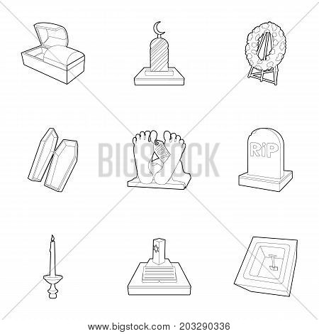 Exequies icons set. Outline set of 9 exequies vector icons for web isolated on white background