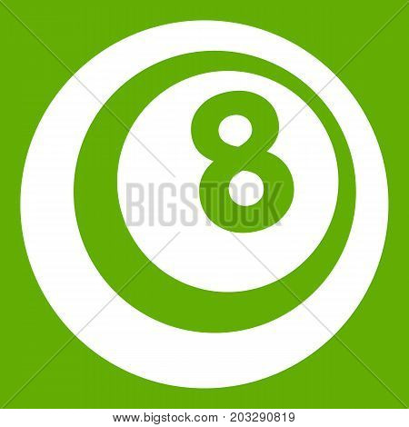 Black and white snooker eight pool icon white isolated on green background. Vector illustration