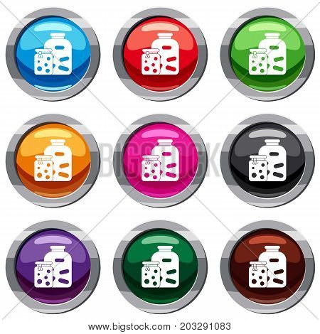 Jars with pickled vegetables and jam set icon isolated on white. 9 icon collection vector illustration