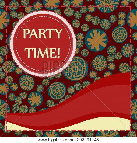 Round frame Print Party Time lettering flayer