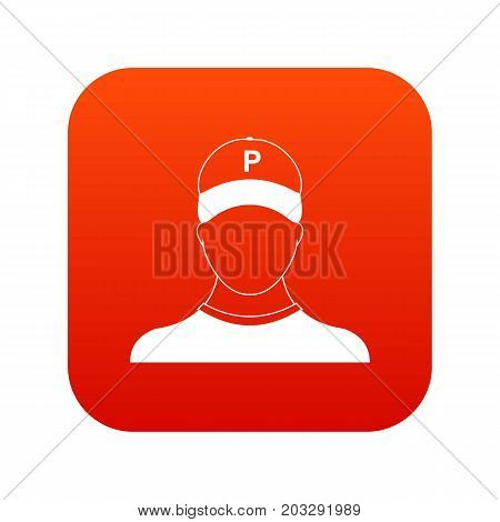 Parking attendant icon digital red for any design isolated on white vector illustration