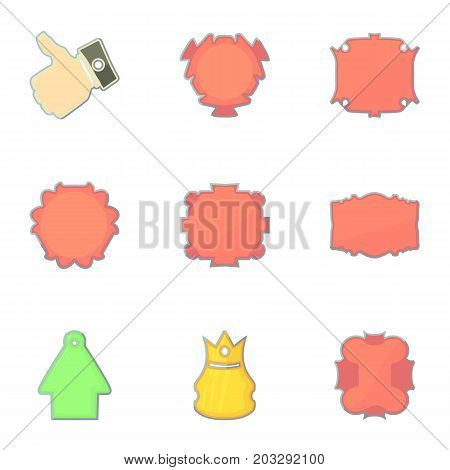 Shop tags icons set. Cartoon set of 9 shop tags vector icons for web isolated on white background