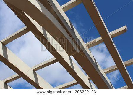 Sky seen through pergola roof, close view